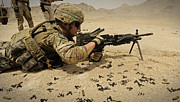 Practice Range Prints - A Soldier Clears The Mk-48 Machine Gun Print by Stocktrek Images