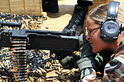 A Soldier Fires An M240b Medium Machine Print by Stocktrek Images