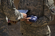 September 11 2001 Metal Prints - A Soldier Is Presented The American Metal Print by Stocktrek Images