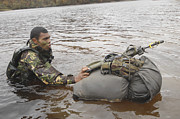 Physical Fitness Posters - A Soldier Participates In A River Poster by Andrew Chittock