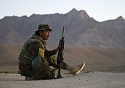 Afghan National Army Framed Prints - A Soldier With The Afghan National Army Framed Print by Stocktrek Images