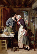 Affection Painting Prints - A Sons Devotion Print by Pierre Jean Edmond Castan