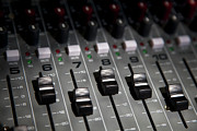 In A Row Metal Prints - A Sound Mixing Board, Close-up, Full Frame Metal Print by Tobias Titz