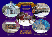 New England Village Digital Art Prints - A South Woodstock Winter Print by Nancy Griswold