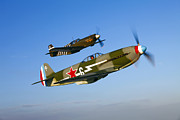 Old Objects Prints - A Soviet Yakovlev Yak-3 And A P-51a Print by Scott Germain