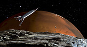 Weightless Prints - A Spaceship In Orbit Over Mars Moon Print by Frank Hettick