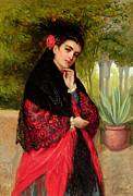 Shawl Paintings - A Spanish Beauty by John-Bagnold Burgess