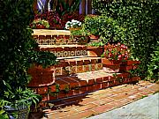 Flowerpots Framed Prints - A Spanish Garden Framed Print by David Lloyd Glover