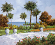 Red Flowers Prints - A Spasso Tra Le Palme Print by Guido Borelli