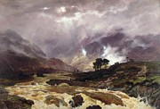 Flood Prints - A Spate in the Highlands Print by Peter Graham