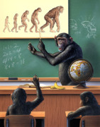 Chimpanzee Prints - A Specious Origin Print by Jerry LoFaro
