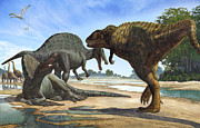 Animal Themes Digital Art Posters - A Spinosaurus Blocks The Path Poster by Sergey Krasovskiy