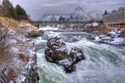Spokane Framed Prints - A Spokane Falls Winter Framed Print by Lee  Santa