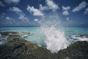 Bahama Islands Prints - A Spray Of Water Upon A Rocky Coast Print by Kenneth Garrett