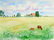 Forelock Painting Framed Prints - A Spring Graze Framed Print by Sharon Mick