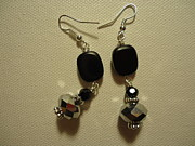 Black Jewelry - A Square with Sparkle Earrings by Jenna Green