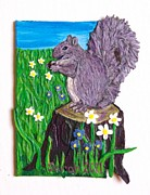 Squirrel Mixed Media Framed Prints - A Squirrel at His Snack Framed Print by Sarah Swift