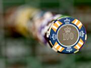 Recreational Structures Prints - A Stack Of Gambling Chips Stacked High Print by Justin Guariglia