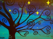 Stary Sky Prints - A Starlit Night  Print by Una  Miller