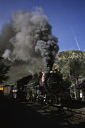 Steam And Smoke Prints - A Steam Engine Leaves The Station Print by Taylor S. Kennedy