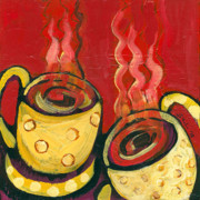 Red Cup Coffee Posters - A Steaming Romance Poster by Jennifer Lommers