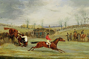 Jockey Painting Framed Prints - A Steeplechase - Another Hedge Framed Print by Henry Thomas Alken