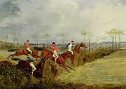 Steeplechase Race Prints - A Steeplechase - Taking a Hedge and Ditch  Print by Henry Thomas Alken