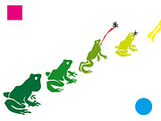 Stencil Prints - A Stencil Of Frogs In A Row Print by Takashi Ueno