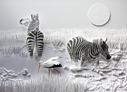 Zebra Reliefs Framed Prints - A Sticky Situation Framed Print by John Hebb