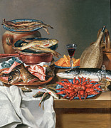 Olive Oil Painting Posters - A Still Life of a Fish Trout and Baby Lobsters Poster by Anton Friedrich Harms