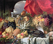 Vine Grapes Painting Posters - A Still Life of Game Birds and Numerous Fruits Poster by William Duffield