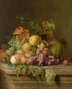 Harvest Bounty Framed Prints - A Still Life of Melons Grapes and Peaches on a Ledge Framed Print by Jakob Bogdani
