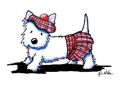 White Terrier Drawings - A Stitch In Tam II by Kim Niles