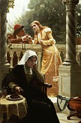 Leighton; Edmund Blair (1853-1922) Painting Prints - A Stolen Interview Print by Edmund Blair Leighton