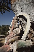 Religious Characters And Scenes Photos - A Stone Sculpture Shrine To The Hindu by Gordon Wiltsie