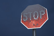 Stop Sign Posters - A Stop Sign Covered In Snow Poster by John Burcham
