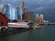 Boston Framed Prints - A Storm in Boston Framed Print by Gina Cormier