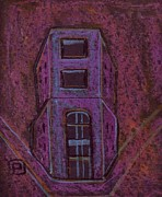 Original Oil Pastels - A strange building by Peter  McPartlin