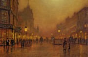 Building Painting Framed Prints - A Street at Night Framed Print by John Atkinson Grimshaw