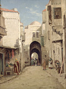 Jerusalem Paintings - A Street in Jerusalem by Percy Robert Craft