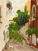 Italy Village Framed Prints - A Street in Positano Framed Print by Charlotte Blanchard