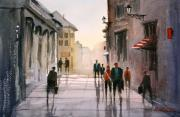 Streetscape Painting Originals - A Stroll in Italy by Ryan Radke