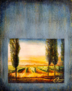 Tuscany Vineyard Oil Paintings - A Stroll Through the Vineyard by Christopher Clark
