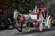 Horse And Carriage Posters - A Stroll Thru The City Poster by Susan Candelario