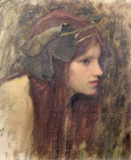 Headband Metal Prints - A Study for a Naiad Metal Print by John William Waterhouse