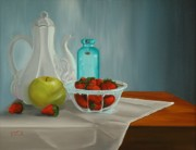 Transparent Fabric Posters - A Study in Strawberries Poster by Barbara Auito