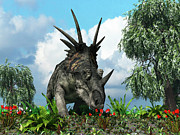 Scale Digital Art - A Styracosaurus Samples Flowers by Walter Myers