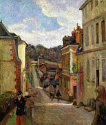 Perspective Painting Prints - A Suburban Street Print by Paul Gauguin