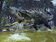 Reptile Digital Art - A Suchomimus Snags A Shark From A Lush by Walter Myers