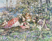 Blonde Hair Framed Prints - A Summer Idyll Framed Print by Edward Atkinson Hornel